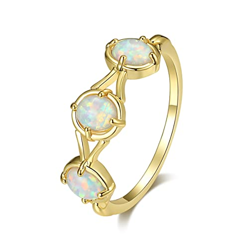 Vanel Three Opal Ring 9K Gold Plated Opal Ring for Women Opal Band Stacking Statement Ring Opal Jewelry with Gift Box (6)