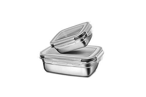 Set of 2 Lunch-Box with Leakproof Lid Airtight Reuseable Stainless Steel Food Container for Kids or Adults S  M Eco-friendly Metal Bento Box -Dishwasher SafeBPA-FREE-Grey