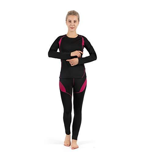 SAGUARO Ropa Interior Termica Mujer Invierno Conjunto Térmico Cálida Transpirable Set de Ropa Esquí Rosa Gr.38