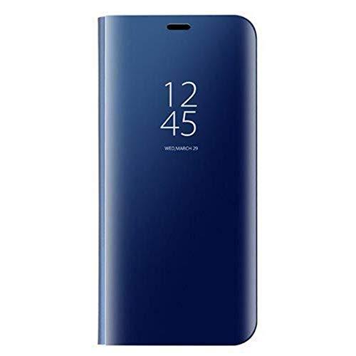 KERUN Hülle Für Oppo Reno 4 Pro 5G, ultradünnen Spiegel für mit Standfunktion flip case, hülle Tasche Flip Schutzhülle für Oppo Reno 4 Pro 5G(blau)
