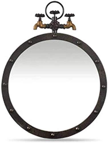 YNHNI Espejo espejo retro industrial viento viejo grifo decorativo espejo montado en la pared lavabo encimera espejo maquillaje espejo viaje