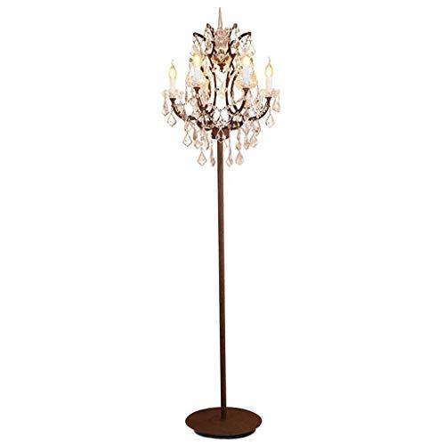 DZE Retro Land Cut Glas Stehlampe, 6 Leuchten Kerze Stehleuchte, Shabby Metall Cafe, Wohnzimmer, Schlafzimmer Stehleuchte Stehlampe Regallampe LED