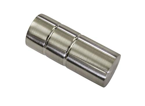 Gardinia Zylinder, 2 x Endstück, Metall, Edelstahl-Optik, für Gardinentechnik Ø 19 mm