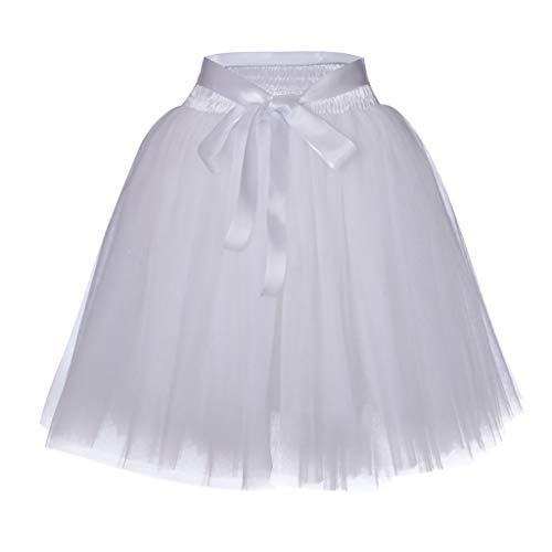 Julhold Tutu Rock Damen 1950er Ballet Tanzkleid Tüllrock Zubehör für Frauen Chiffon Sommer Unterrock(Weiß,One Size)