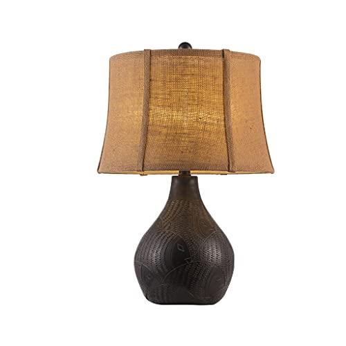 Lámpara de la mesa del extremo de la lámpara de mesita de noche clásica Lámpara de escritorio moderna con la base de la tela y la base de la resina, junto a la lámpara de mesa para la habitación de la