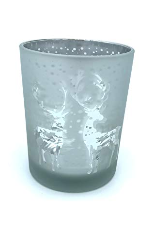 Formano Windlicht Silber mit Hirschmotiv 13 cm