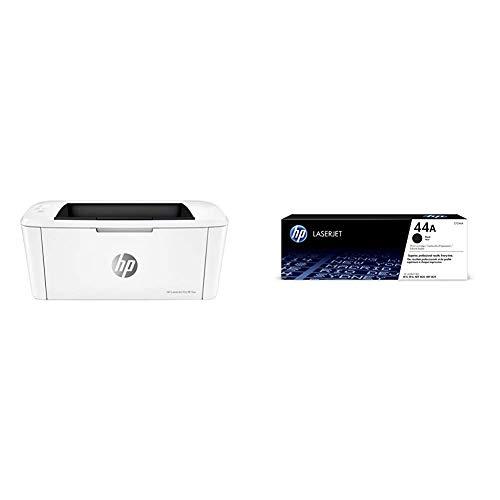 HP Laserjet Pro M15w SHNGC-1700-01 - Impresora láser (USB 2.0, WiFi, 18 ppm, Memoria de 8 MB, Wi-Fi Direct y aplicación HP Smart) + Cartucho de tóner Original 44A, Color Negro