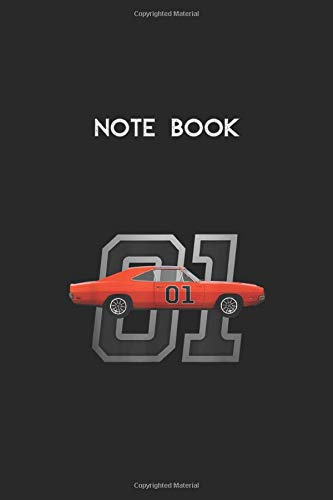 Notebook: Classic Car 1969 Dodge General Charger Dukes Lee Lined Pages Notebook White Paper Blank Journal with Black Cover Size 6in x 9in x 115 pages for Kids or Men and Women Mechanics