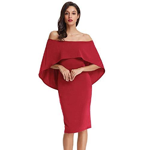 GRACE KARIN Damen Elegant Bodycon Bleistiftkleid Ärmllos Kleid Bodycon Bleistiftkleid Festliches Kleid Rot CLAF0039-8_M