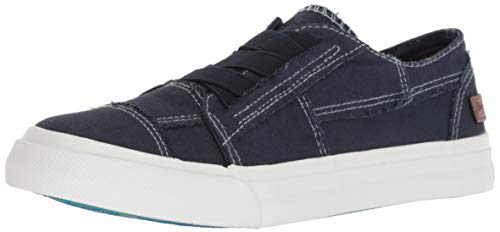 Blowfish Malibu womens fashion sneakers, Pure Navy Color Washed Canvas, 9 US