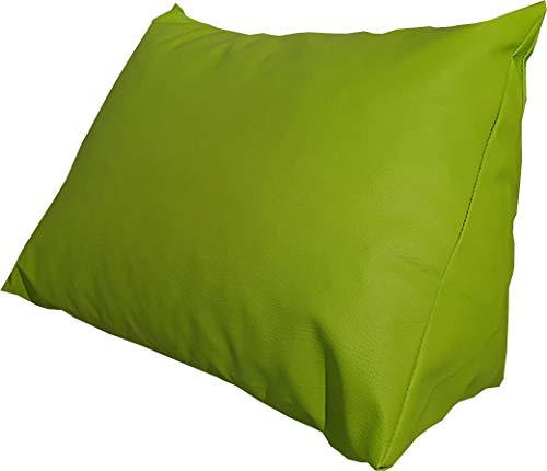 Lesekissen & Rückenstütze aus Kunstleder für Bett, Couch, Fernsehen, Rückenkissen für bequemes Sitzen, Keil- und Nackenkissen mit Schaumstoffflocken, Kunstleder (grün)