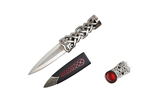 Wuu Jau Co 9' Scottish Celtic Dirk Dagger with Scabbard (Red)