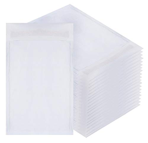 Amiff White Kraft Bubble mailers 6x9 Padded envelopes 6 x 9. Pack of 10 Kraft Paper Cushion envelopes. Exterior Size 7x10 (7 x 10). Peel and Seal. Mailing, Shipping, Packing.