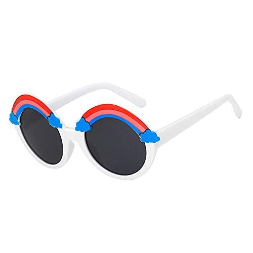 DLSM Moda Linda Redonda niños Gafas de Sol Arco Iris Nubes decoración Retro Gafas Gafas niñas Gafas al Aire Libre UV400 Adecuado para Viajes al Aire Libre de la Playa-Gris Blanco