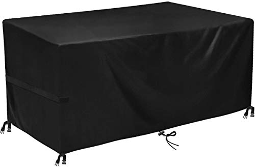king do way Garden Furniture Covers,Outdoor Furniture Cover 420D Heavy Duty Oxford Polyester Rectangular Patio Table Covers Waterproof,Windproof & Anti-UV Patio Furniture Covers 242x182x100cm (Black)