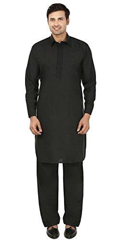 MapleClothing Mens Pathani Kurta Salwar Set Indische (Schwarz, XXXL)