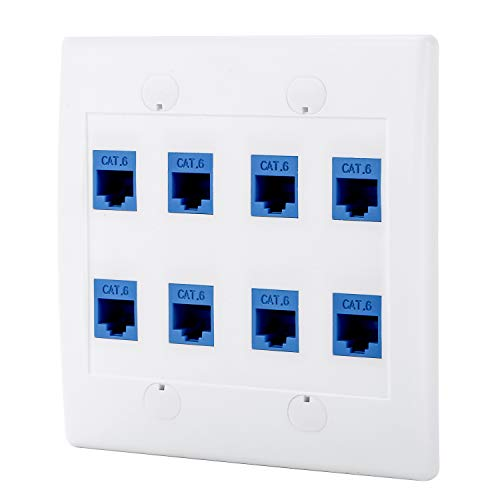 Sancable - Ethernet Wall Plate, 8 Port Cat6 Keystone Female to Female - White