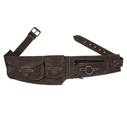 Women's Brown Leather Utility Belt for Travel and Festivals, Burning Man Festival Bag with Fanny Pack Functionality, 100% Leather, One-Size Fits Most