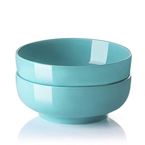 Cuencos de servir grandes para ensalada y pasta, 2 cuencos de porcelana para fiesta familiar, 2 unidades (turquesa)