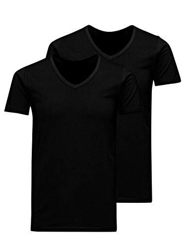 Jack & Jones Jacbasic V-Neck tee SS 2 Pack Camiseta, Negro (Black Black), Large (Pack de 2) para Hombre