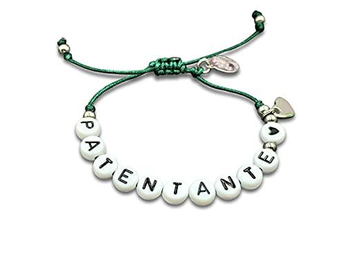 Armband Makramee Patentante dunkelgrün - Geschenk Patenschaft und Taufe - Anhänger und Perlen Edelstahl - Textilband in Wunschfarbe - Größe S bin XL - personalisierbar