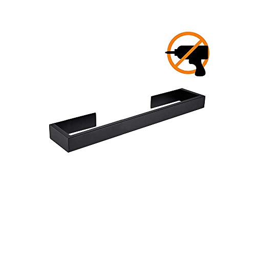Homovater Edelstahl SUS 304 Selbstklebender Modern Handtuchhalter Transparent Acryl Stickers Pads Badezimmer Single-Handtuchstange ohne Bohren,Schwarzes Finish,30cm