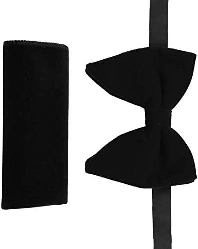 Formal Large Pretied Bowtie Solid Clip On Adjustable Big Tall Large Pretied Bow Ties Hankie product image