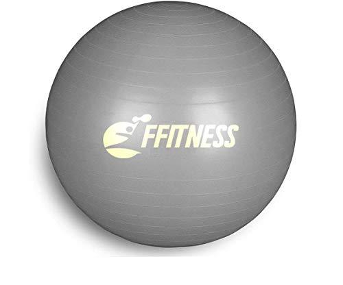 Pelota de Equilibrio Total para Fitness (55 a 95 cm de diámetro) para Yoga, Pilates, Gimnasia, Pelota Suiza antiestallidos, Gris, 75 cm