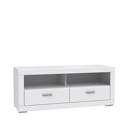 FORTE Snow TV-Unterschrank mit 2 Schubkästen, Holz, weiß matt, 156 x 52.1 x 64 cm