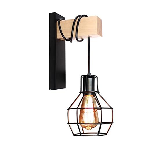 lámpara de pared Moderno brazo de madera lámpara de pared escono hierro jaula retro pared luz interior iluminación accesorio para dormitorio cocina bar cafetería tienda decoración del hogar iluminació