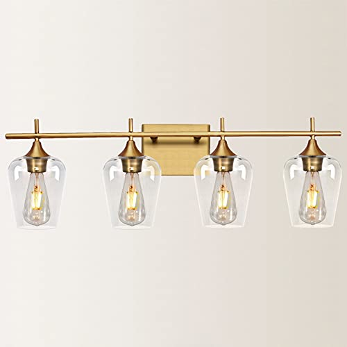 Vanity Lights Fixtures, Zicbol 4 Light Bathroom Light, Brass Gold Wall Light with Clear Glass Shade, Modern Bathroom Wall Sconce Lighting for Bath, Living Room, Bedroom, Stairs, Gallery, Restaurant