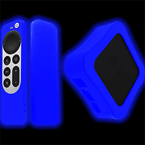 Funda de Silicona TV Box para Apple TV 4K 5Th 4Th Generation 2021 Protectora de Cuerpo Completo a Prueba de Golpes Suave de Polvo para Apple TV 4K 6th Gen Siri Remote Controller y Box Azul brillante