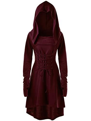 chuangminghangqi Renaissance Kostüm Damen Robe zum Schnüren Mittelalter Kleid mit Kapuze Langarm Retro Gothic Cosplay Halloween Karneval (XXL, Weinrot-2)
