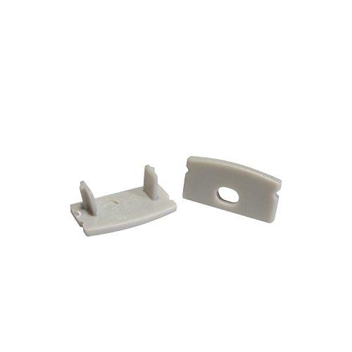 2x Endkappen für das Alu-Modell AUFPUTZ-KL von Alumino® eins ohne und eins mit Bohrung für das LED-Kabel