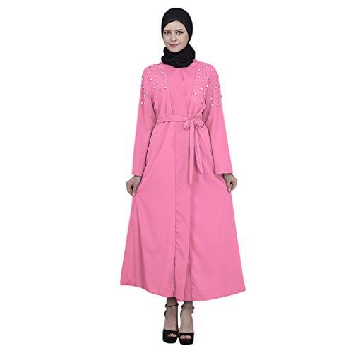 WUDUBE Fashion Muslimische Robe für Frauen, Eröffnung der Perl-Cocktailkleid-Strickjacke für muslimische Frauen in Dubai