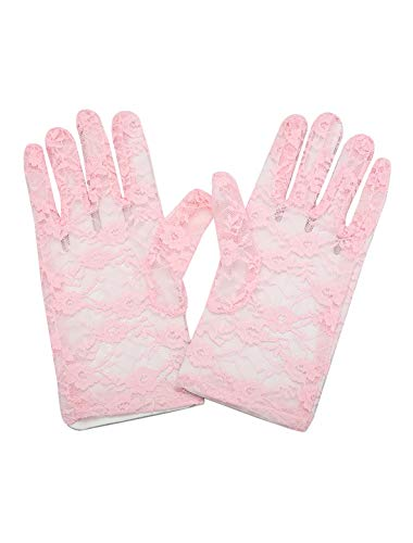 Allegra K Lady Floral Lace Wrist Length Full Finger Gloves Pair Pink