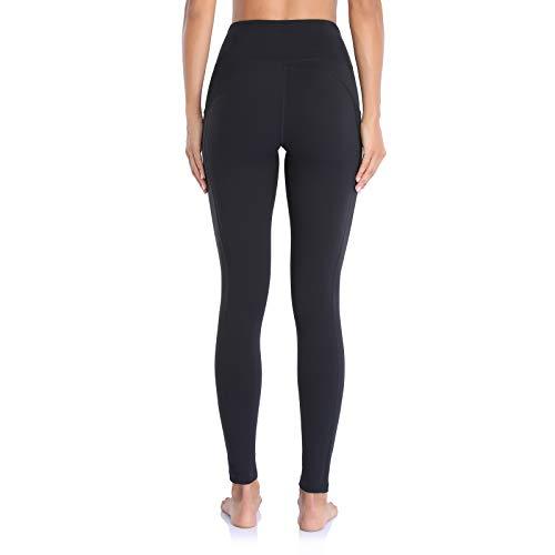 Ollrynns Leggins Deportivos Mujer Cintura Alta Pantalones Deportivos Mallas Leggings con Bolsillos para Running Training Fitness CA166,Negro,M