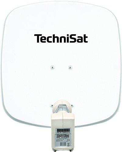 TechniSat DIGIDISH 45 – Satelliten-Schüssel für 2 Teilnehmer (45 cm kleine Sat Anlage - Komplettset mit Wandhalterung und Universal Twin-LNB) weiß