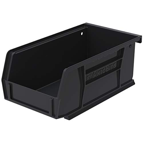 Akro-Mils - 30220BLACK 30220 AkroBins Plastic Storage Bin Hanging Stacking Containers, (7-Inch x 4-Inch x 3-Inch), Black, (24-Pack)