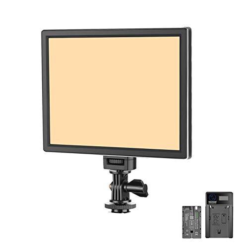 Neewer T100 Más Suave SMD LED Kit Iluminación Luz de Vídeo LED: Bi-Color 3200K-5600K Panel LED Ultra Fino Regulable con Batería de Li-ion 2200mAh y Cargador USB para Niños Estudio deFotografía