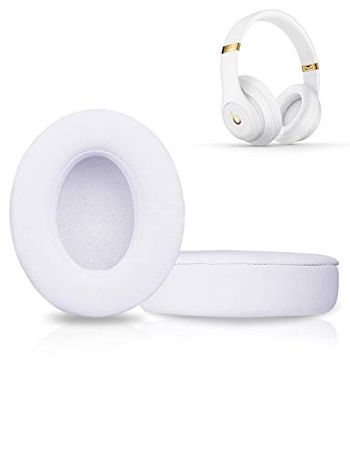 Premium Beats Studio Replacement Ear Pads Cushions - Compatible with Beats Studio 2.0 & 3.0 Wired/Wireless - Extreme Comfort with Soft Protein Leather & Noise Isolation Memory Foam (White)