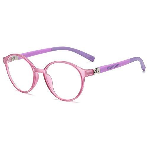 ZYM Anti Blau lichtundurchlässige Brille Kids Frame Mode Brillen-Raum-Objektiv Computer-Kinder Brillen Augenschutz Brille (Frame Color : Purple)