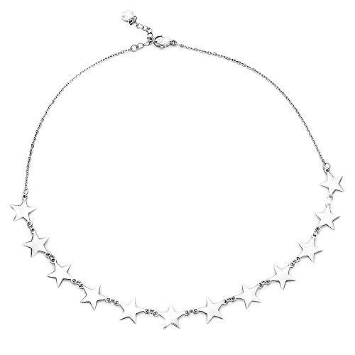 Beloved Collana girocollo donna in acciaio ESSENTIAL con charms varie forme - chiusura a moschettone - lunghezza regolabile (Stelle)