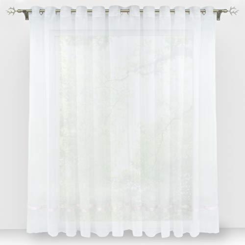 HongYa Stores Voile Gardine Schal Transparenter Vorhang mit Satinband Ösen H/B 120/300 cm Weiß