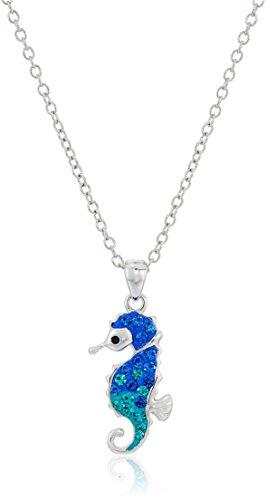 Amazon Collection Silver Plated Crystal Seahorse Pendant Enhancer, 18'