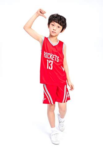 Basketball Trikot Anzüge für Kinder Männer und Frauen Basketball-Trainingsuniformen Rockets James Harden-Trikots Geeignet für Kindersport Fitness,red,S