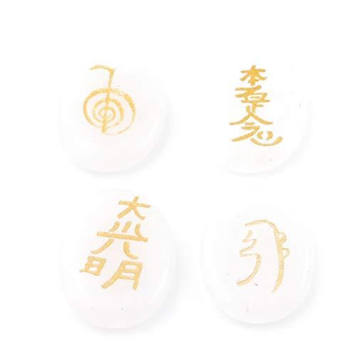 ARITZI - Paquete 4 minerales ovalados con símbolos de Reiki - CUARZO BLANCO