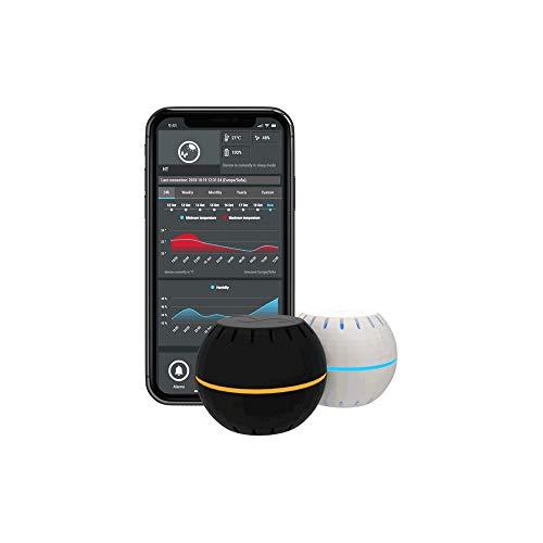 Shelly H e T con Base USB Rileva la Temperatura e lo Stato di Umidità, Configurazione con App Shelly, Nero