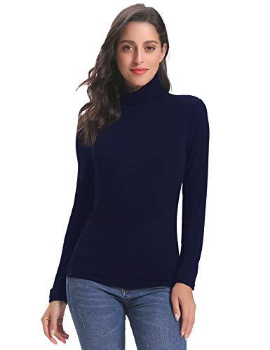 Abollria Pull Femme Col Roulé sous-Pull Basique d'intérieur Top Femme à Manches Longues Hauts Chic Confortable,Bleu Marine 2,L