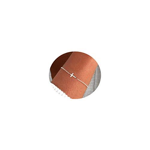 NECOCY 14K Gold Cross Bracelet Dainty Silver Cross Bracelet Sterling Silver Plated for Women